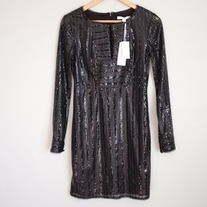 Piperlime Black Leather Sequin Long Sleeve Dress